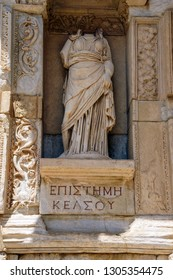 EPHESUS, TURKEY - MAY 25, 2014 - Statue of Knowledge on the exterior of the  Celsus library in  Ephesus Turkey