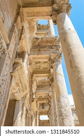Ephesus, Turkey - May 30, 2014: A view of the Corinthian columns of the Celsus Library in the ancient city of Ephesus
