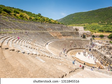 Ephesus, Turkey - May 30, 2014: Looking out across the Great Theatre in the ancient city of Ephesus from the upper levels