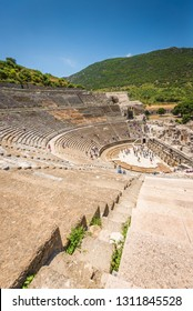 Ephesus, Turkey - May 30, 2014: A view for the upper level of the Great Theatre in the ancient city of Ephesus