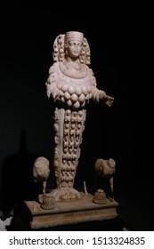 EPHESUS, TURKEY - SEP 19, 2019 - Multi breasted statue of goddess Artemis,  Ephesus, Turkey