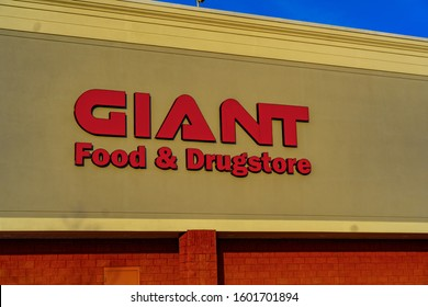Ephrata, PA / USA - December 23, 2019: A Giant Food Store in Lancaster County.  Giant is an American supermarket chain that operates stores in Pennsylvania, Maryland, Virginia and West Virginia.