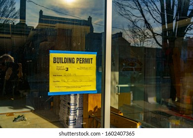 Ephrata, PA / USA - December 23, 2019: A building permit issued by the Borough of Ephrata on display in a business in Lancaster County.