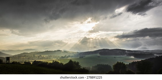 epic adventure and dramatic sunset landscape after rain in austria