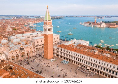 Epic aerial morning view over St Mark's Square in Venice, Italy. Beautiful aerial shot.