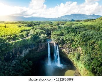 Epic aerial shot of Wailua Falls on Kauai (Hawaii)