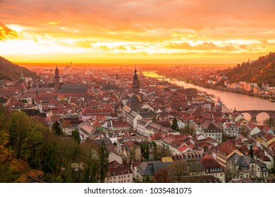 Epic aerial sunset view over the medieval old town