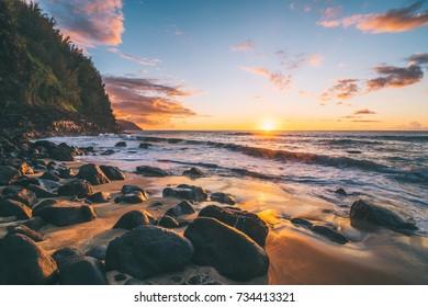 Epic Beach Sunset in Kauai Hawaii island