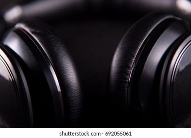 Epic Black Headphones on Dark Background