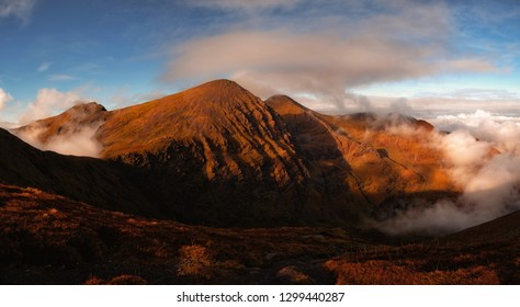 Epic evening view in bright colours of highest mountain in Ireland, Carrauntoohil, McGillycuddy reeks, Co. Kerry, Ireland