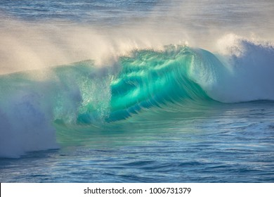 Epic green blue ocean wave, sunset water aquatic background