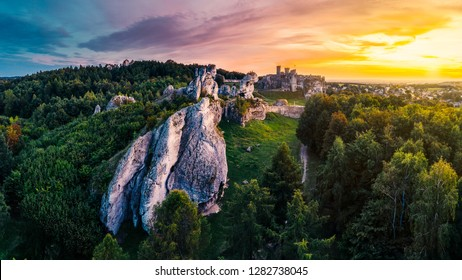 An epic panorama of medieval castle ruins located in Ogrodzieniec, Poland