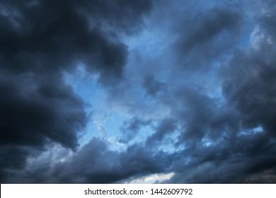 Epic Storm blue sky, dark clouds background texture