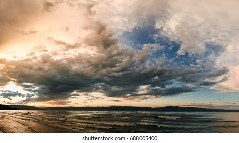 Epic sunset clouds over lake Baikal