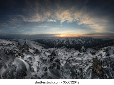 Epic sunset from the highest point on the Balkan Peninsula. Bulgaria.