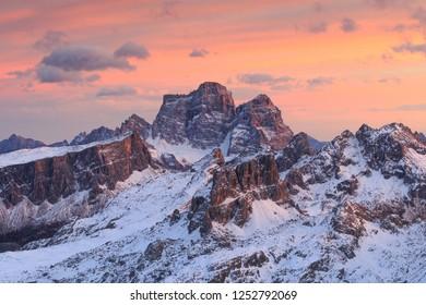 Epic sunset on the Dolomites, from Rifugio lagazuoi, looking the best peaks of Dolomites mountains, Italy