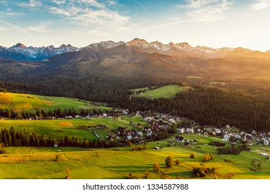 Epic sunset over Tatra mountains in Poland