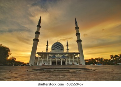 Epic sunset view of a mosque
