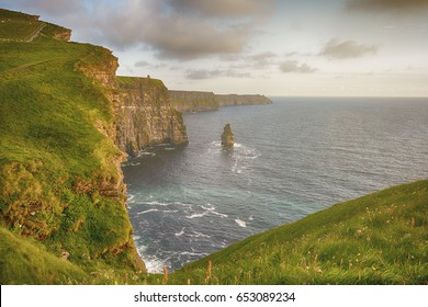 epic views from the cliffs of moher in county clare ireland. ireland's number 1 tourist attraction. beautiful scenic irish countryside landscape along the wild atlantic way.