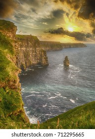epic views from the cliffs of moher in county clare ireland. beautiful scenic irish countryside landscape along the wild atlantic way unesco global geopark European Atlantic Geotourism Route