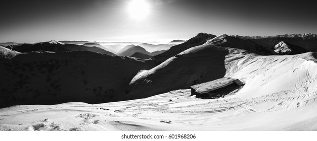Epic winter scenery in the mountains