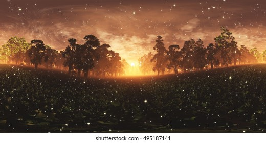 Epical Magic Forest Sunset with Fireflies VR360 3D Illustration