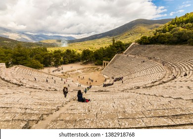 Epidaurus, Greece. The Ancient Theatre of Epidavros, a theatre located in the sanctuary dedicated to the ancient Greek God of medicine, Asclepius