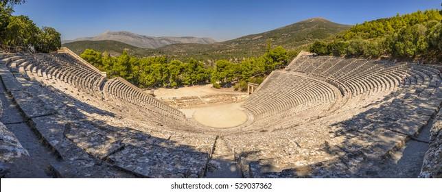 Epidaurus, the oldest theater in ancient Greece, 180 degrees panorama. Argolis - Greece.