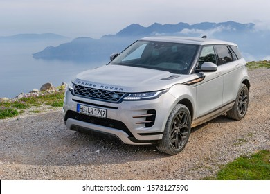 EPIDAVROS, GREECE - MARCH 20, 2019: Range Rover Evoque near Epidavros, Greece, March 20, 2019