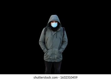 Epidemic Coronavirus. Man in mask isolated on black background. Dangerous flu strain cases. Pandemic disease. Health problem concept. Epidemic concept. Viruses attack.