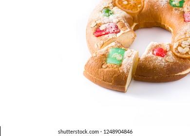 "Epiphany cake ""Roscon de Reyes"" isolated on white background. Copyspace"