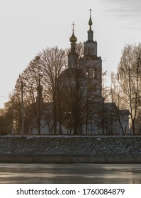 Epiphany Cathedral in the city of Orel at sunset.