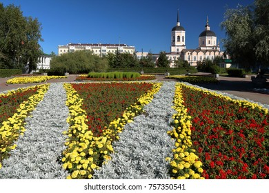 Epiphany Cathedral at Tomsk with flowers