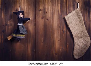 Epiphany witch, stocking, waiting