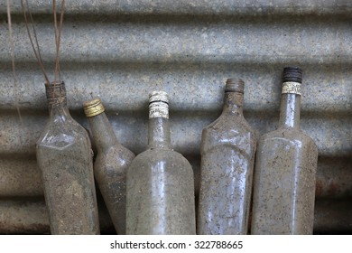 EPI,VANUATU-OCTOBER 04, 2014: Local shopkeepers leave empty bottles outside stores waiting to be recycled in the future on October 04, in Vanuatu