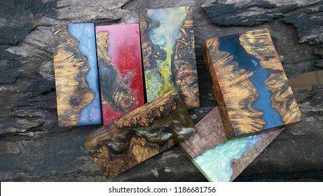 epoxy resin Stabilizing Afzelia burl exotic wood color full background, Abstract art picture photo, print design and your advertisement