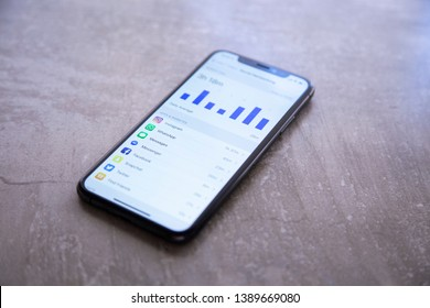 Eppelheim, Baden Württemberg / Germany - 05 01 2019 Apple Iphone XS Space Gray Display Screen Time of Social Media Using
