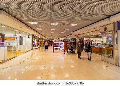 Epsom, UK – November 08.2018: The Ashley Centre is a shopping centre, in Epsom, Surrey. The Ashley Centre was opened in 1984 by Queen Elizabeth II