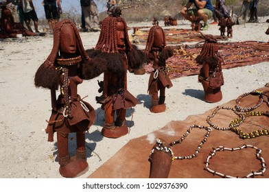 EPUPA, NAMIBIA - August 24th 2017: Beautiful local collection of traditional handmade jewllery and crafts souvenirs made by Himba tribe at iconic Epupa village, Africa.