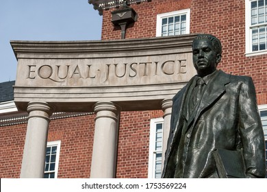 """Equal Justice"" inscribed on the Thurgood Marshall Memorial outside Maryland State House, Annapolis, MD. Marshall was the first African-American U.S. Supreme Court justice."