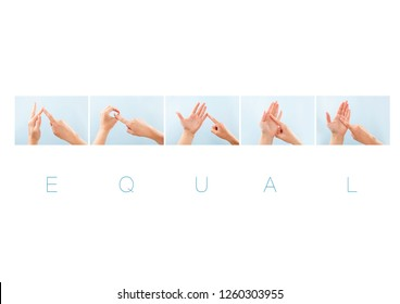 Equal word in british sign language for deaf mute people. Nonverbal message.