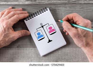Equality concept drawn on a notepad