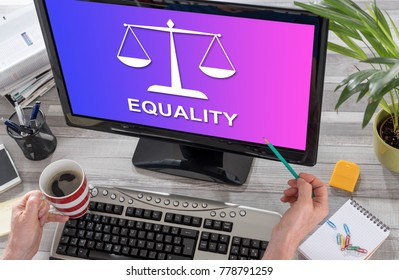Equality concept on a computer screen