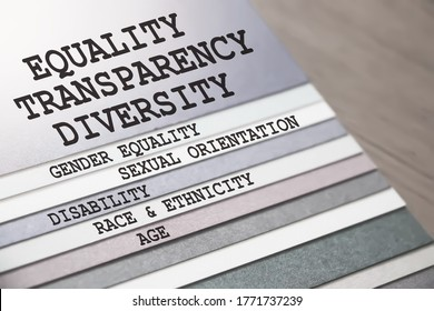 Equality and Diversity gender sexual orientation race and ethnicity disability age words on different pages of copybook. Social tolerance concept. in career and education Selective focus.