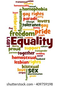 Equality, word cloud concept on white background.