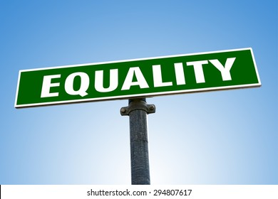 EQUALITY word on green road sign