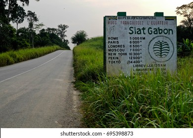 Equator sign in Gabon