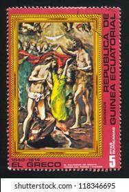 EQUATORIAL GUINEA - CIRCA 1972: stamp printed by Equatorial Guinea, shows Baptism of Christ by El Greco, circa 1972