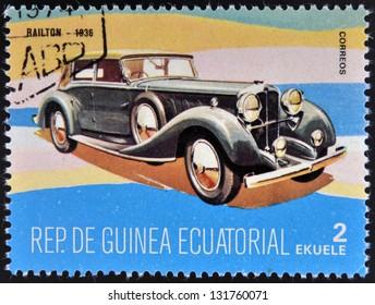 EQUATORIAL GUINEA - CIRCA 1974: A stamp printed in Guinea dedicated to vintage cars, shows Railton, 1936, circa 1974