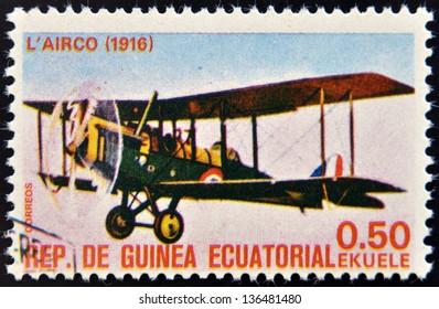 EQUATORIAL GUINEA - CIRCA 1974: A stamp printed in Guinea dedicated to history of aviation shows Airco DH.4,1916,  circa 1974